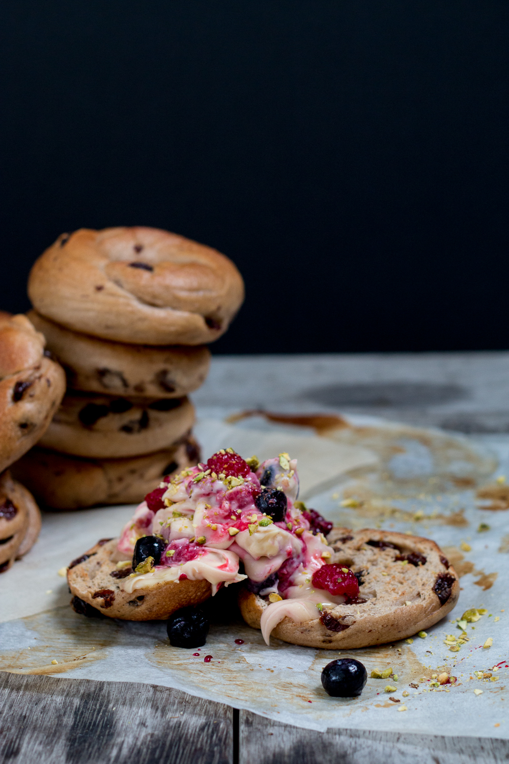 Cinnamon Raisin Bagels with Berry Pistachio Mascarpone - The Brick ...