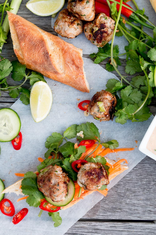 Vietnamese Pork Meatball Banh Mi - The Brick Kitchen