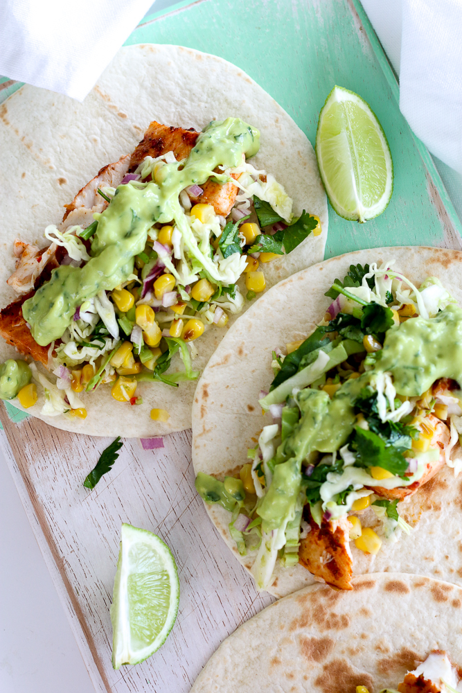 Spicy Fish Tacos with Grilled Corn Slaw and Avocado-Coriander-Lime ...