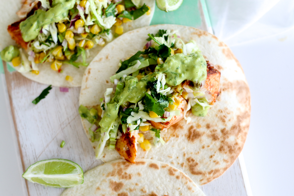 Spicy Fish Tacos with Grilled Corn Slaw & Avocado ...
