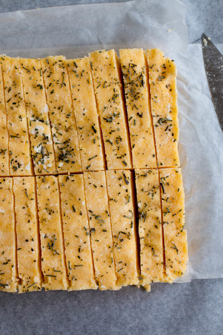 Herbed Mushrooms on Baked Rosemary Ricotta Polenta Chips
