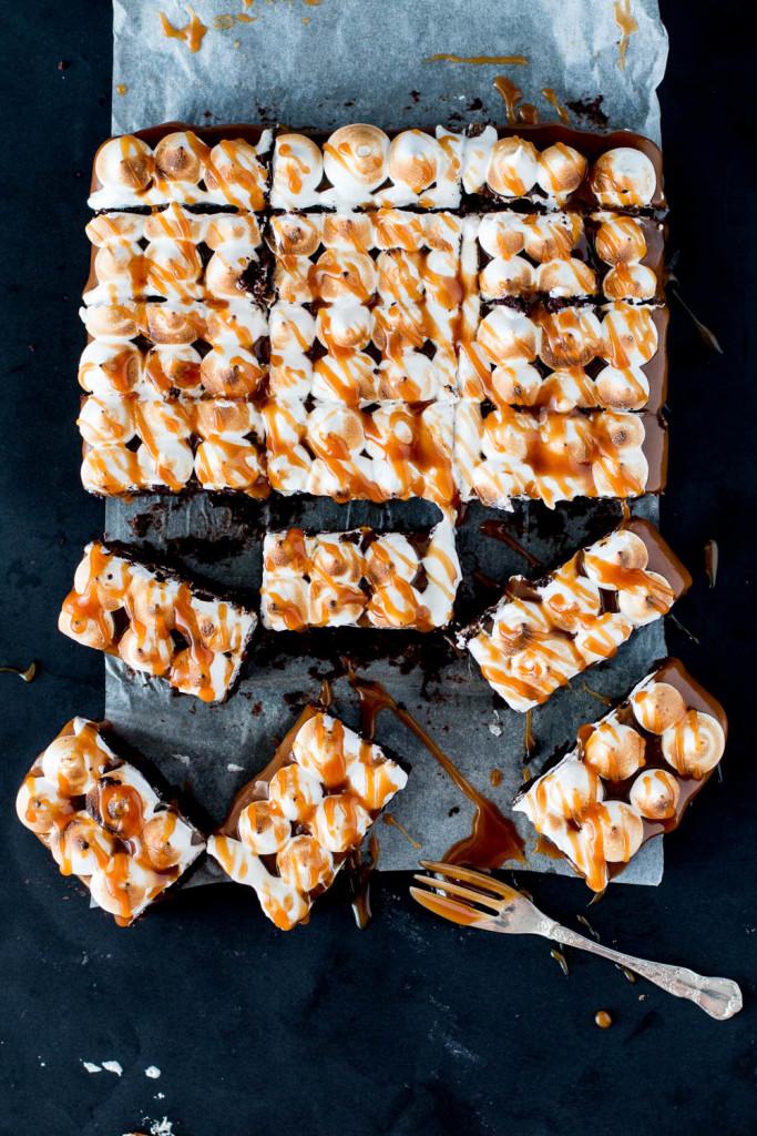 Salted Caramel Chocolate Meringue Brownies