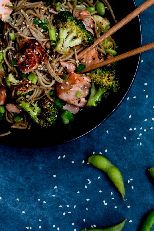Miso Salmon, Eggplant & Soba Noodle Stir-fry - The Brick Kitchen