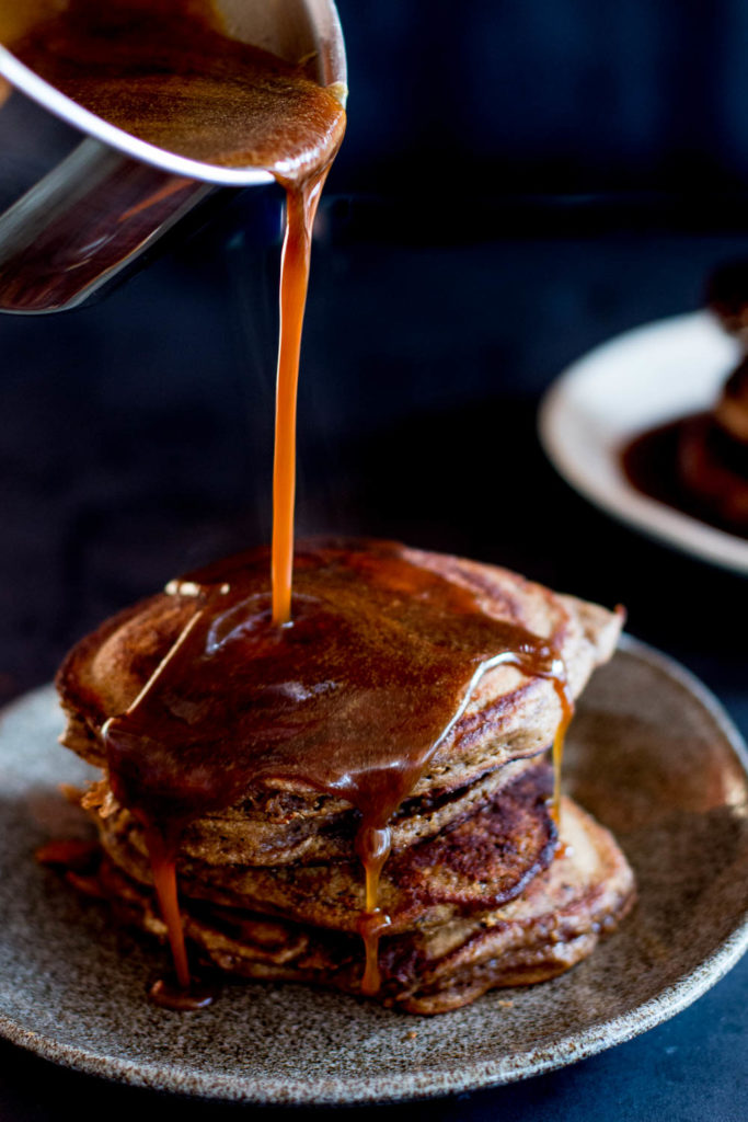 Sticky Date Pancakes with Butterscotch Sauce & Roasted Pears