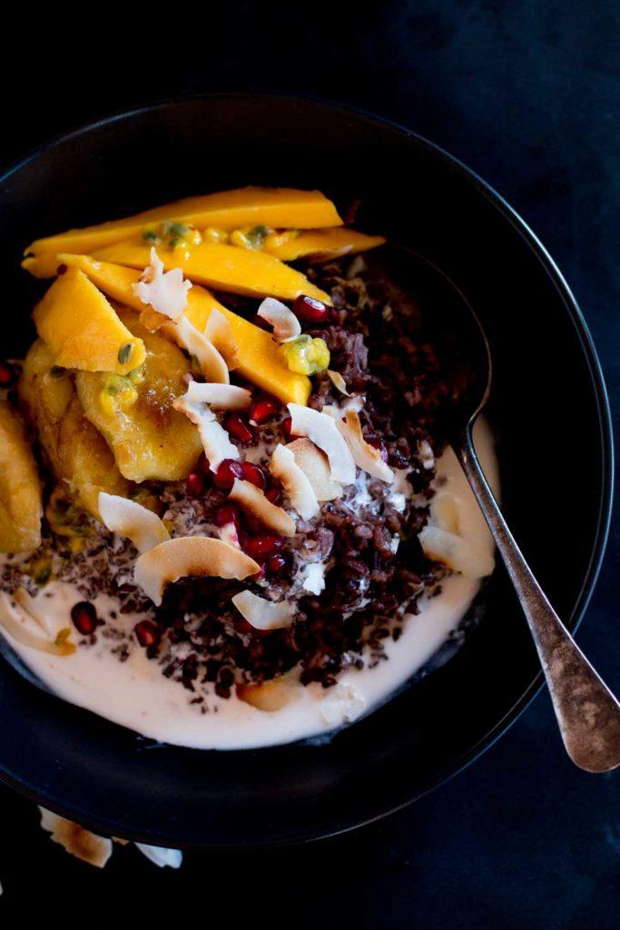 ... new breakfast foods – mango & coconut black sticky rice pudding