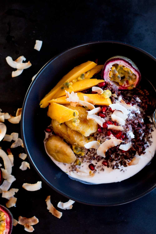 Mango & Coconut Black Sticky Rice Pudding + Cambodia
