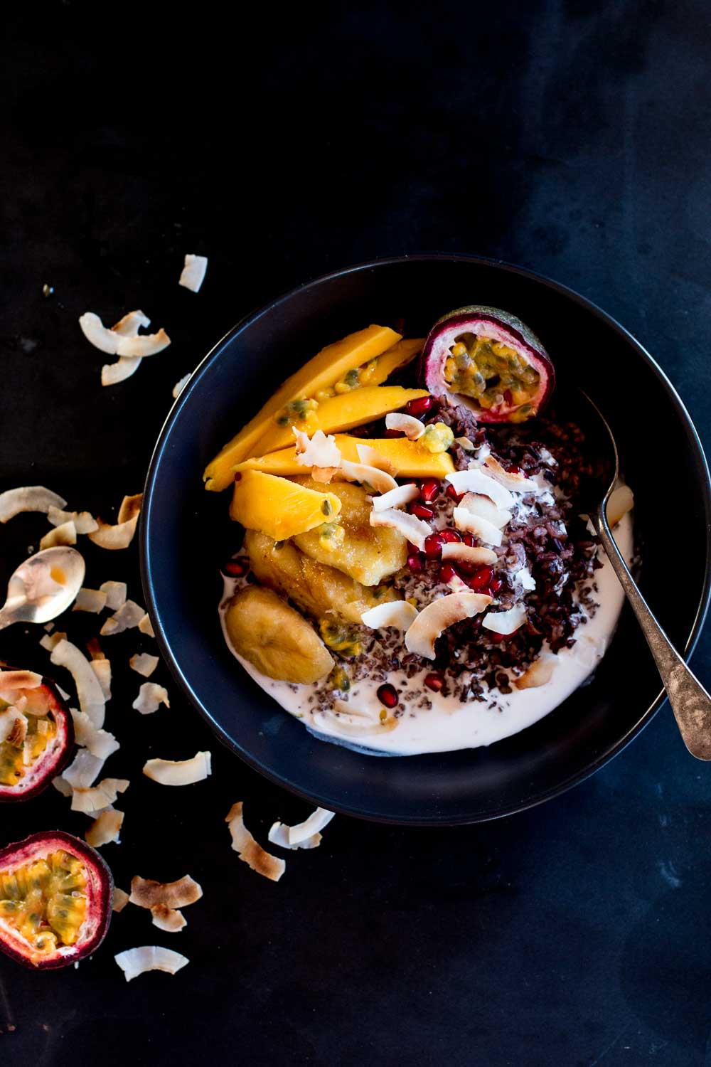 Mango & Coconut Black Sticky Rice Pudding + Cambodia