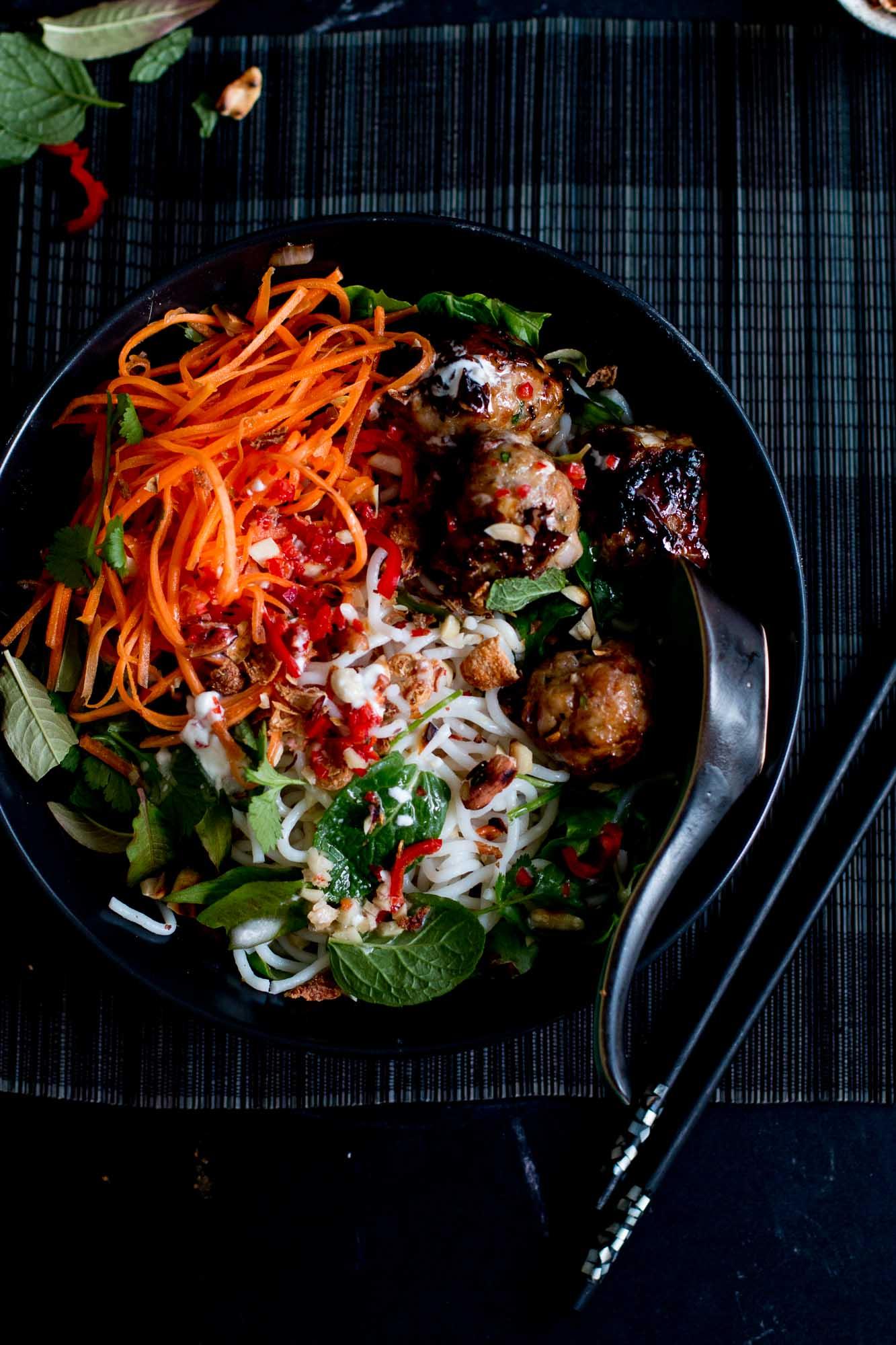 Vietnamese Sticky Pork Meatball & Coconut Noodle Bowls
