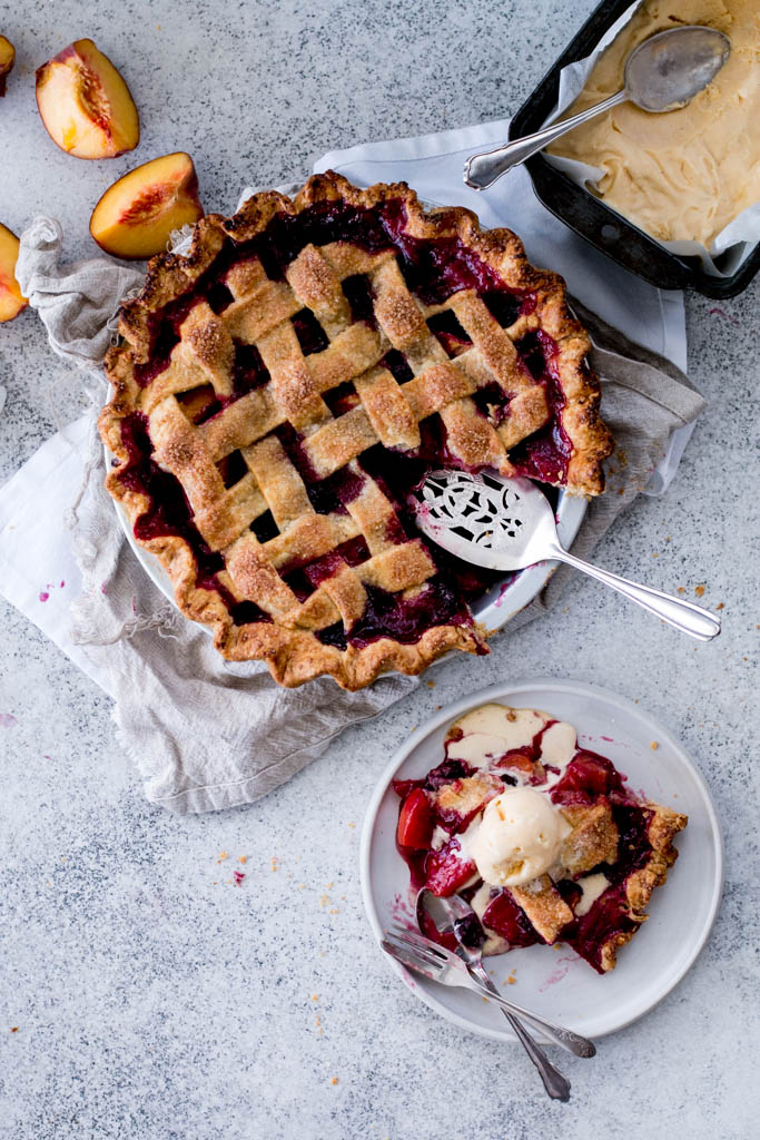 Peach & Blackberry Pie with Olive Oil Gelato